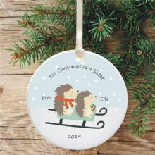 1st Christmas as a Sister Ceramic Xmas Tree Decoration - Hedgehog and Sledge Design